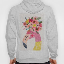 Pink flamingo with flowers on head Hoody