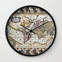 Old World map 1652 Wall Clock
