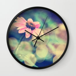 Romance. Golden dust pink daisy with bokeh. Wall Clock