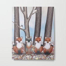 fox friends (with chickadees) Metal Print