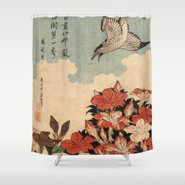 Hokusai Cuckoo and azaleas -hokusai,manga,japan,Katsushika,cuckoo,azaleas,Rhododendron Shower Curtain
