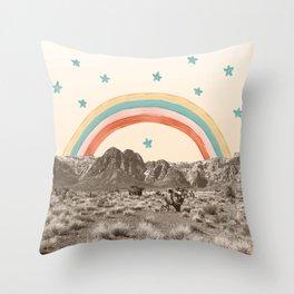 Canyon Desert Rainbow // Sierra Nevada Cactus Mountain Range Whimsical Painted Happy Stars Throw Pillow