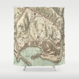 Vintage Map of Genoa Italy (1800) Shower Curtain