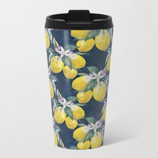 Lemons pattern Metal Travel Mug