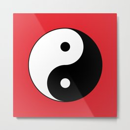 Yin and yang Symbol on red Metal Print
