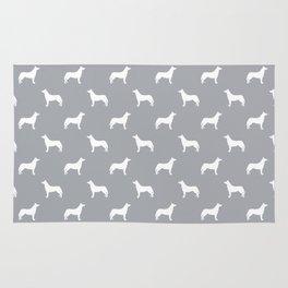 Husky dog pattern simple minimal basic dog silhouette huskies dog breed grey and white Rug
