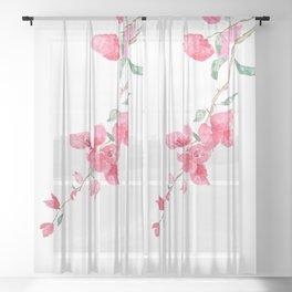 red  pink  bougainvillea watercolor Sheer Curtain