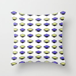 Float Pieces Blue and Yellow Throw Pillow