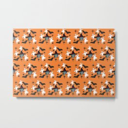 Halloween pattern Witch Monsters Metal Print