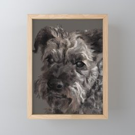 Dog-Figaro light background Framed Mini Art Print