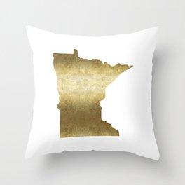 minnesota gold foil state map Throw Pillow