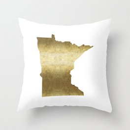 minnesota gold foil state map Throw Pillow