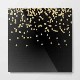 Sparkling gold glitter confetti on black - Luxury design Metal Print