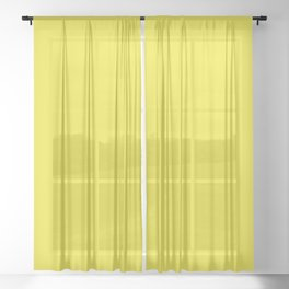 Yellow Highlighter Solid Summer Party Color Sheer Curtain