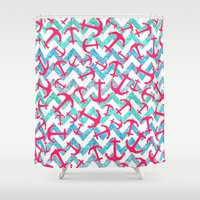 anchors Shower Curtains featuring Anchors Confusion by Girly Trend