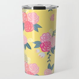 Sweet Roses on Yellow Travel Mug