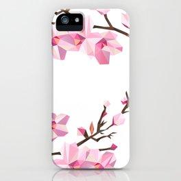 Geometric Japanese Sakura - Cherry Blossoms on White Background iPhone Case
