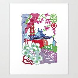 Chinese Paper Cutting Chinoiserie Watercolor Design Art Print