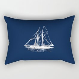 Sailboat Sailing Boat in White and Nautical Navy Blue Rectangular Pillow