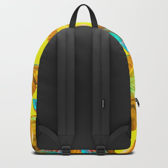 Butterflies - turquoise wings - yellow background #Society6 #buyart Backpack