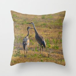 Sandhill Crane With Young Throw Pillow