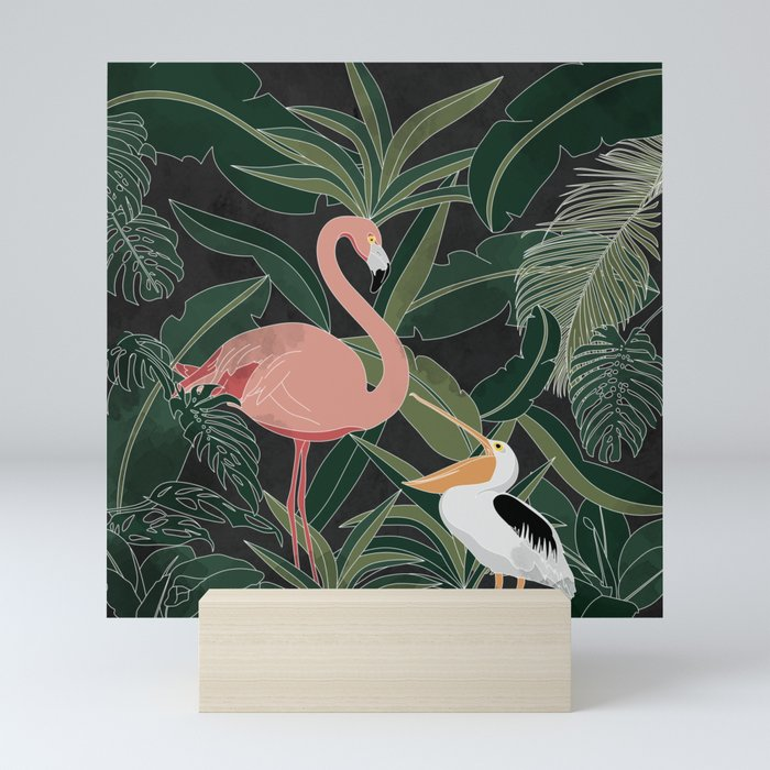Flamingo and Pelican Mini Art Print