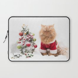Angry Christmas Cat in Snow Laptop Sleeve