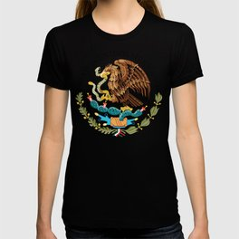 Mexican National Coat of Arms & Seal on Adobe Red T-shirt