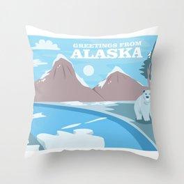 Greetings From Alaska Polar Beer & Mountains Throw Pillow