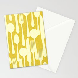 SILVERWARE PATTERN ON YELLOW Stationery Cards