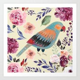 Parrot Art Floral Watercolor Painting Art Print