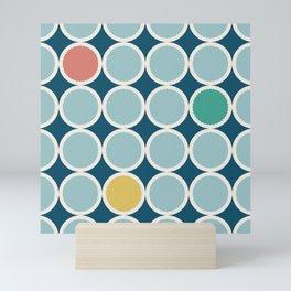 Scalloped Circles in Blue Mini Art Print