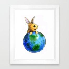 Earth bunny Framed Art Print