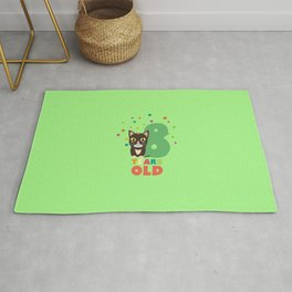 Eight Years 8th Birthday Party Cat T-Shirt D14m7 Rug