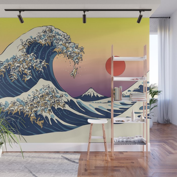 The Great Wave Of  Cat Wall Mural