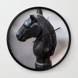 Standing Guard - Horse Head Hitching Post in New Orleans French Quarter Wall Clock