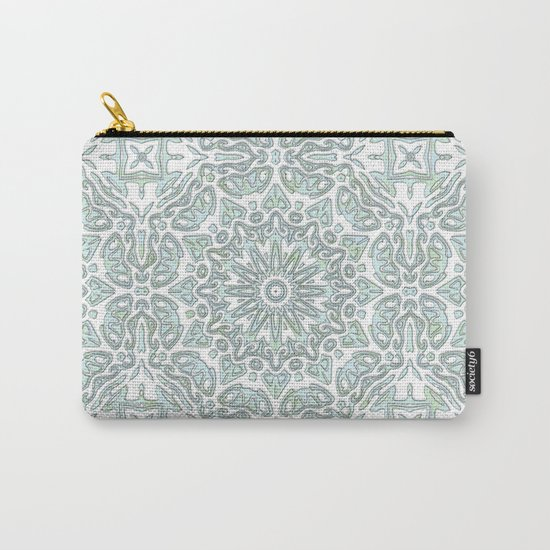 Turquoise teal ornamental pattern Carry-All Pouch