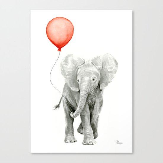 Baby Elephant Watercolor Red Balloon Nursery Decor Canvas Print