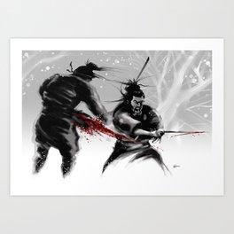 Samurai fight Art Print