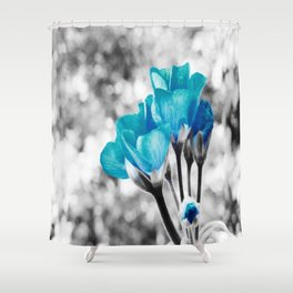 Turquoise FloWERS Pop of Color Shower Curtain