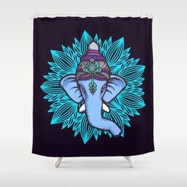Wise Elephant Ganesha Mandala Shower Curtain