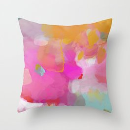 pink sun clouds abstract Throw Pillow