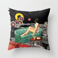 northern lights Throw Pillows featuring Northern Lights by Eugenia Loli