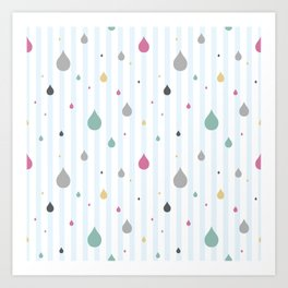 seamless pattern rain Art Print