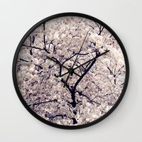 cherry blossom Wall Clocks featuring Cherry Blossom * by Neon Wildlife