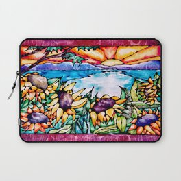 Summer Sunflowers - Stained Glass Watercolor Laptop Sleeve