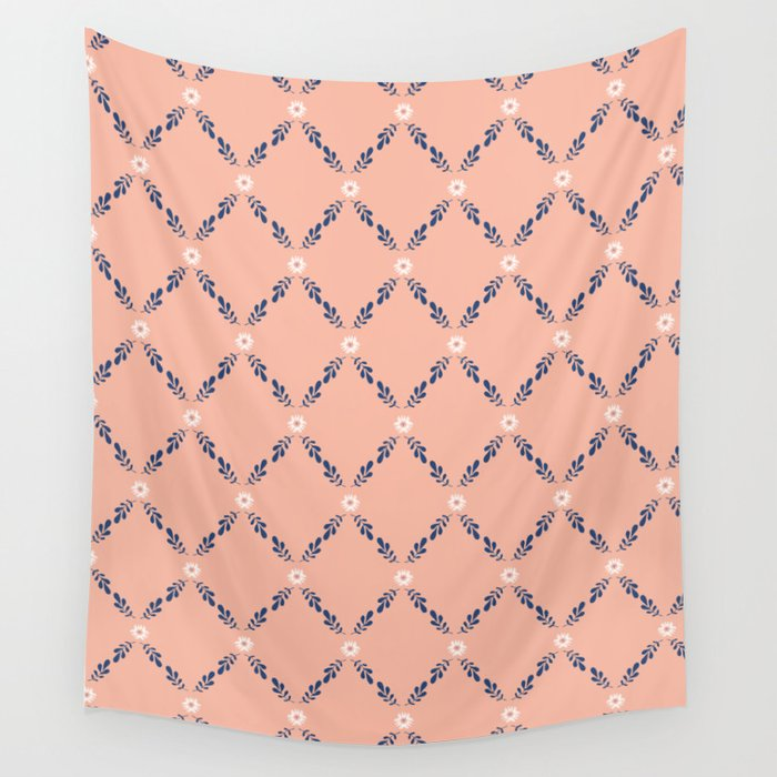 Peach Orange Floral Lattice Wall Tapestry