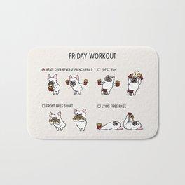 Friday Workout with French Bulldog Bath Mat