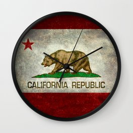 Californian flag the Bear flag in retro grunge Wall Clock