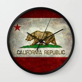 Californian flag the Bear flag in retro grunge Wall Clock